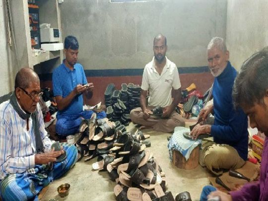 Migrant workers shoes