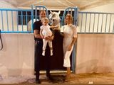 Anna Julia with father Timo, mother Bieke and - of course - Messi, the winner of the 2020 Sheikh Zayed Bin Sultan Al Nahyan Jewel Crown