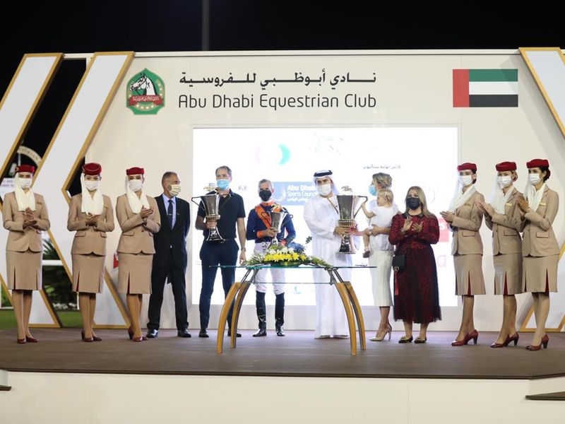 Belgian trainer Timo Keersmaeker at the trophy presentation after Messi won the Dh5 million Group 1 Sheikh Zayed bin Sultan Al Nahyan Jewel Crown.
