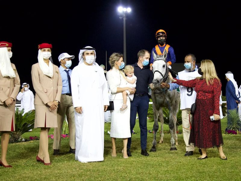 Belgian trainer Timo Keersmaeker with his family after Messi won the Dh5 million Group 1 Sheikh Zayed bin Sultan Al Nahyan Jewel Crown.