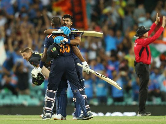 India's Hardik Pandya and Shreyas Iyer celebrate after the T20 series win over Australia
