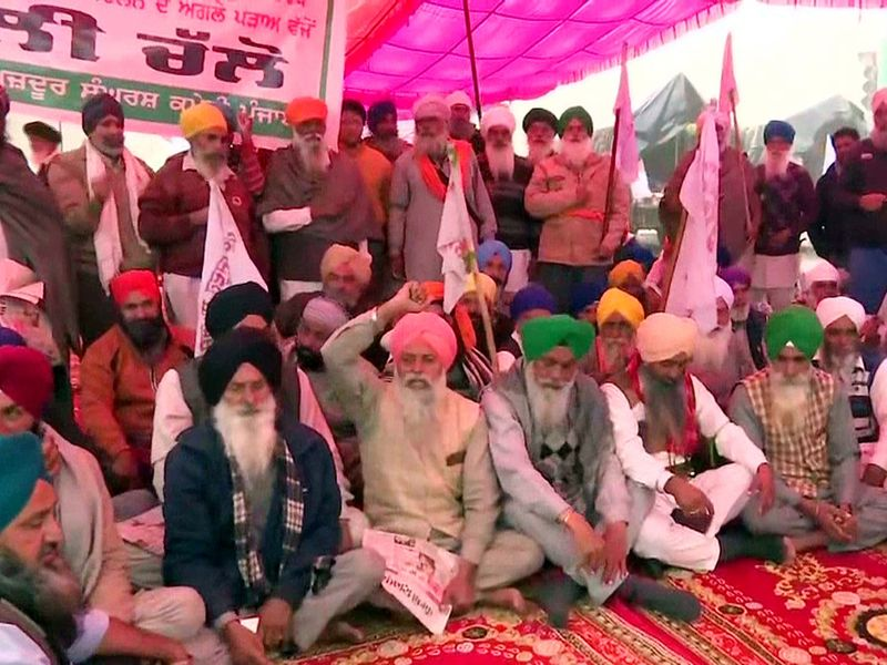 New Delhi: Farmers continue to hold a sit-in protest against farm laws, at Singhu Border in New Delhi on Sunday.