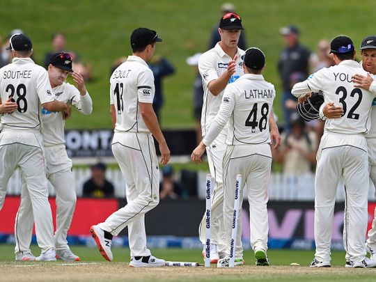 New Zealand celebrate their big win over Wast Indies