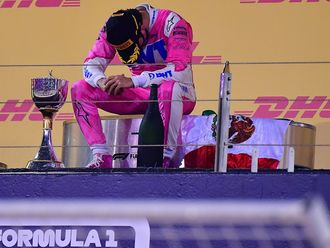 Sergio Perez after winning the Sakhir Grand Prix in Bahrain