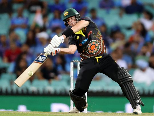Steve Smith in action against India in the second T20 in Sydney