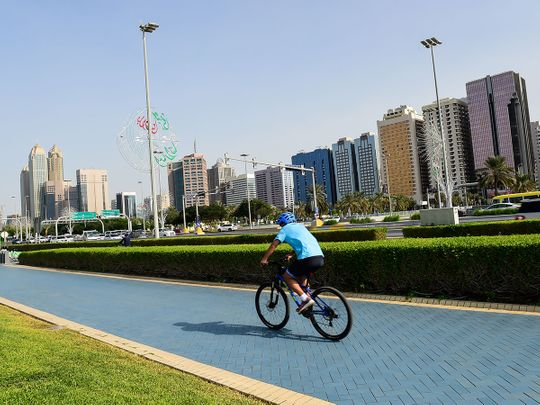 STOCK Abu Dhabi skyline corniche