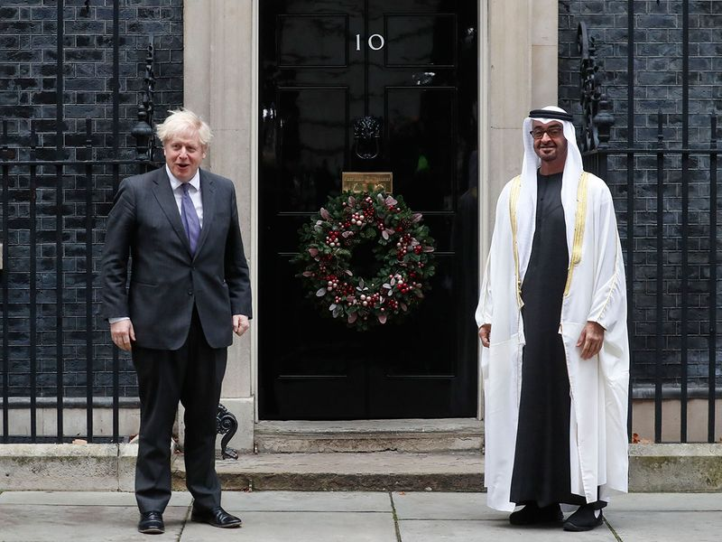 London:  Britain's Prime Minister Boris Johnson welcomes the Crown Prince of the Emirate of Abu Dhabi, Sheikh Mohammed bin Zayed Al Nahyan at 10 Downing Street in London,