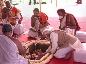 Modi Parliament foundation stone