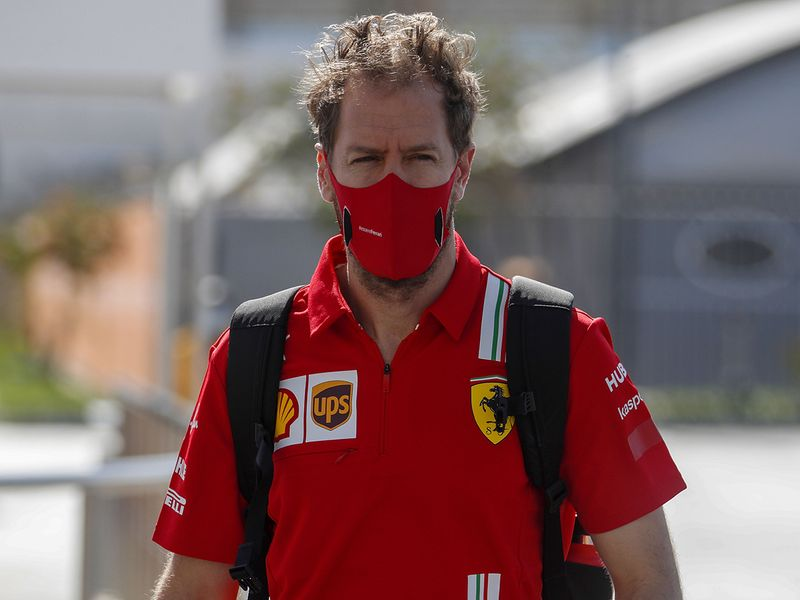 Sebastian Vettel arrives for Abu Dhabi Grand Prix practice