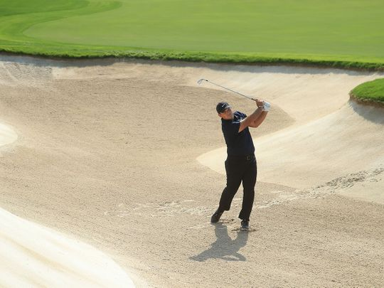 Patrick Reed on his way to a share of the lead after round 3 of the DP World Tour Championship