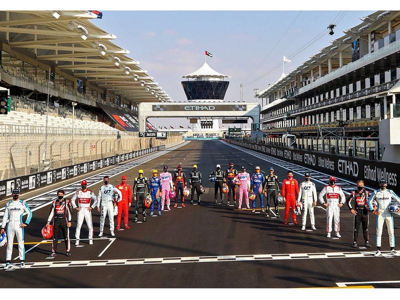 Drivers assemble ahead of the Abu Dhabi Grand Prix