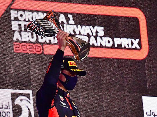 Max Verstappen celebrates his win in Abu Dhabi