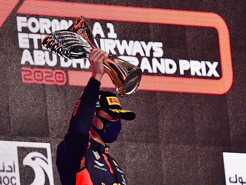 Max Verstappen celebrates his win in Abu Dhabi
