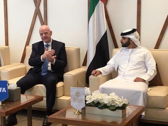 Fifa President speaks with Sheikh Mansoor Bin Mohammed Bin Rashid Al Maktoum, Chairman of DSC