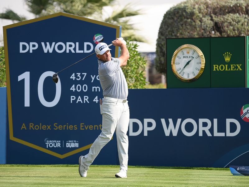 Lee Westwood in action at the DP World Tour Championship in Dubai