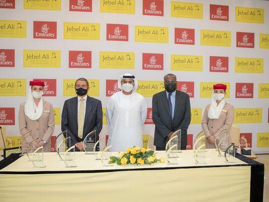 Sheikh Rashid Bin Jamal bin Khalifa Al Maktoum, Emirates Sales Manager, with Shareef Al Halawani, Jebel Ali Racecourse General Manager and Yasir Mabrouk, ERA representative.