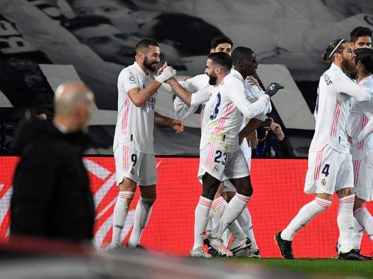Karim Benzema cele brates scoring against Bilbao as Zinedine Zidane looks on