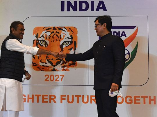 Praful Patel, left, President of the All India Football Federation (AIFF) and Kiren Rijiju, Minister of State of the Ministry of Youth Affairs and Sports at the 2027 AFC Asian Cup bid launch