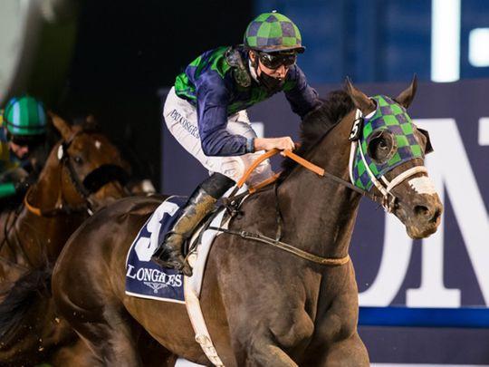 Thegreatcollection wins the Dubai Creek Mile under Pat Cosgrave.