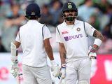 Virat Kohli and Ajinkya Rahane during the first Test against Australia in Adelaide