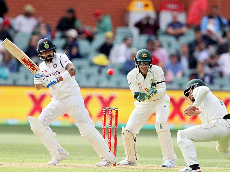Virat Kokli bats for India during the first Test against Australia in Adelaide