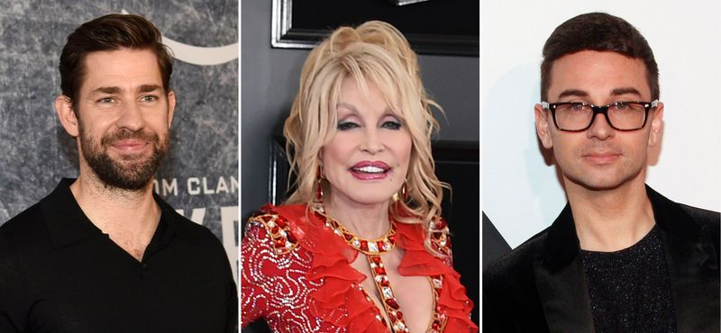This combination photo shows John Krasinski, from left, Dolly Parton and Christian Siriano. They are among those in the entertainment industry who took the initiative to make the best out of a challenging year. (AP Photo)