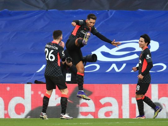 Liverpool's Firmino celebrates against Crystal Palace