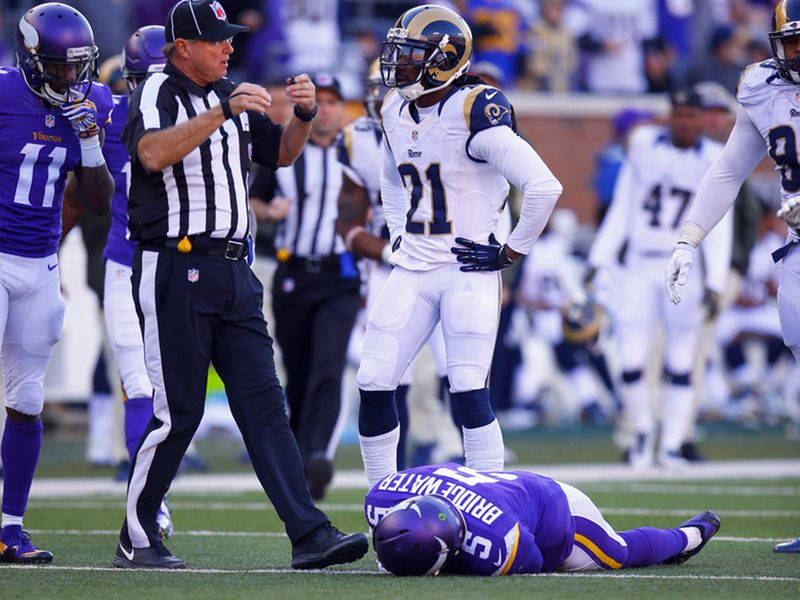 Minnesota Vikings quarterback Teddy Bridgewater lies unconscious after sustaining a particularly nasty hit to the head during a game against the St. Louis Rams in 2015. The NFL reports there were 271 diagnosed concussions last year. Jeff Haynes/AP