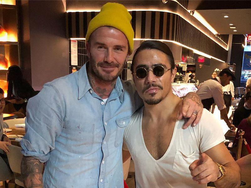 David Beckham stops by Nusr-Et in New York.