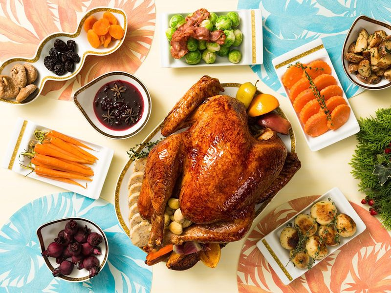 Tender roast turkey plus delicious trimmings to serve with