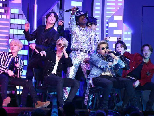 BTS performing at the Grammys 2020