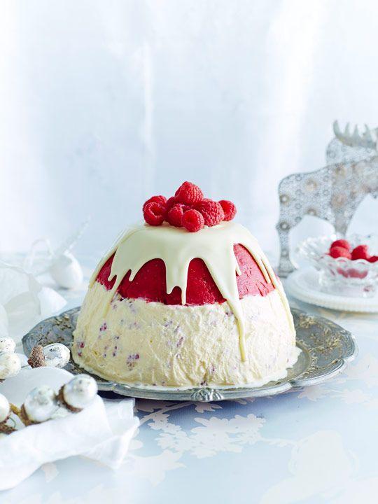 Raspberry & nougat ice-cream pudding