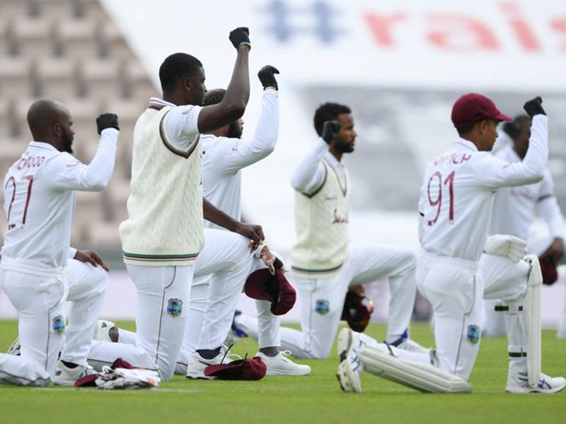 West Indies players take a knee against England