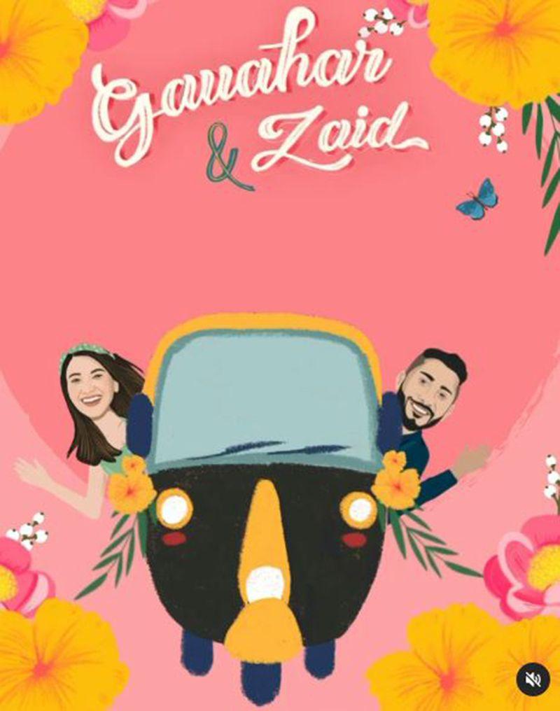Wedding card of Gauahar Khan