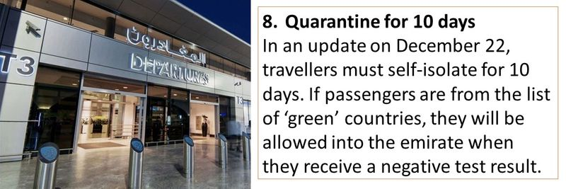 8.	Quarantine for 10 days In an update on December 22, travellers must self-isolate for 10 days. If passengers are from the list of 'green' countries, they will be allowed into the emirate when they receive a negative test result.