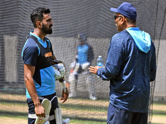 India's KL Rahul speaks to head coach Ravi Shastri