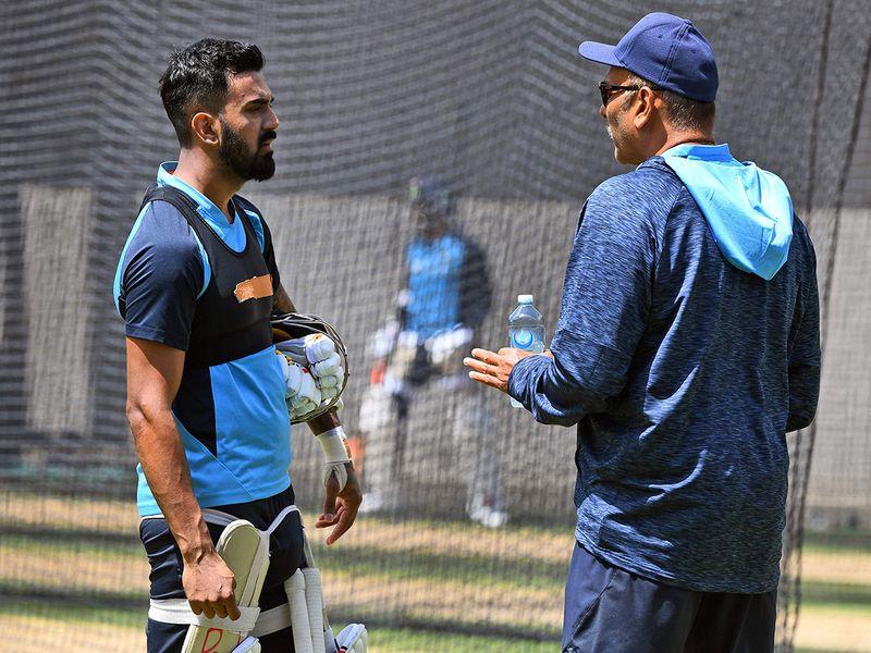 India's KL Rahul speaks to head coach Ravi Shastri