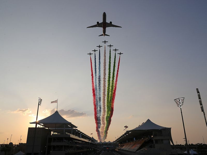 The Etihad fly-past marked the beginning of the Formula One Abu Dhabi Grand Prix at Yas Island in December 2020.