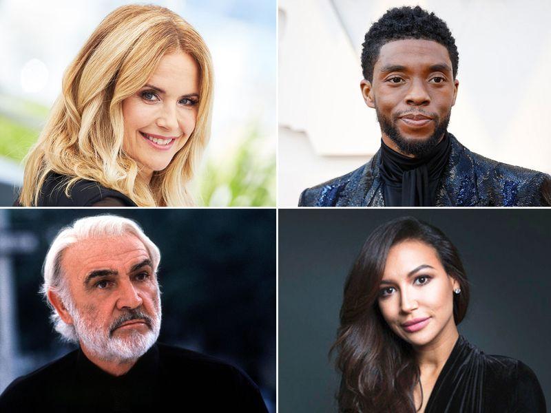 (Clockwise from top left) Kelly Preston, Chadwick Boseman, Naya Rivera and Sean Connery.