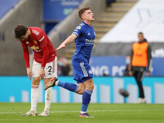 Harvey Barnes celebrates his leveller against Manchester United