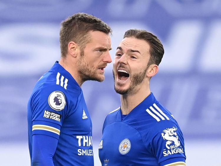 James Maddison celebrates Jamie Vardy's late leveller against Manchester United