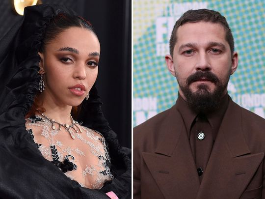 This combination photo shows FKA twigs, left, at the 62nd annual Grammy Awards on Jan. 26, 2020, in Los Angeles and Shia LaBeouf at the premiere of