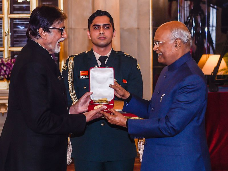 President Ram Nath Kovind presents the Dada Saheb Phalke Award for the year 2018 to veteran Bollywood actor Amitabh Bachchan, conferred for his contribution to the Indian film industry, at Rashtrapati Bhawan.