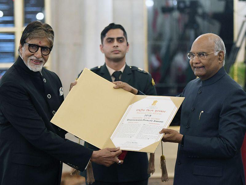 Veteran actor Amitabh Bachchan receives Dadasaheb Phalke Award from President Ram Nath Kovind at Rashtrapati Bhavan.