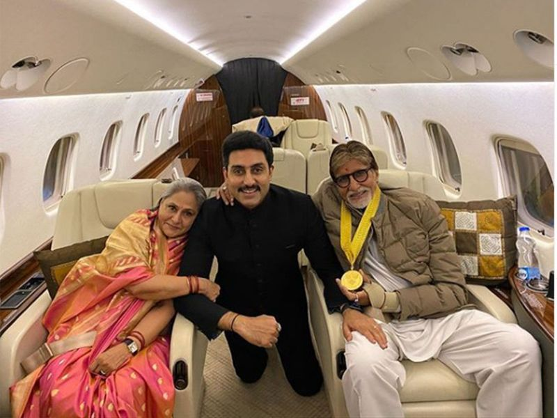Abhishek with Jaya Bachchan and Amitabh Bachchan