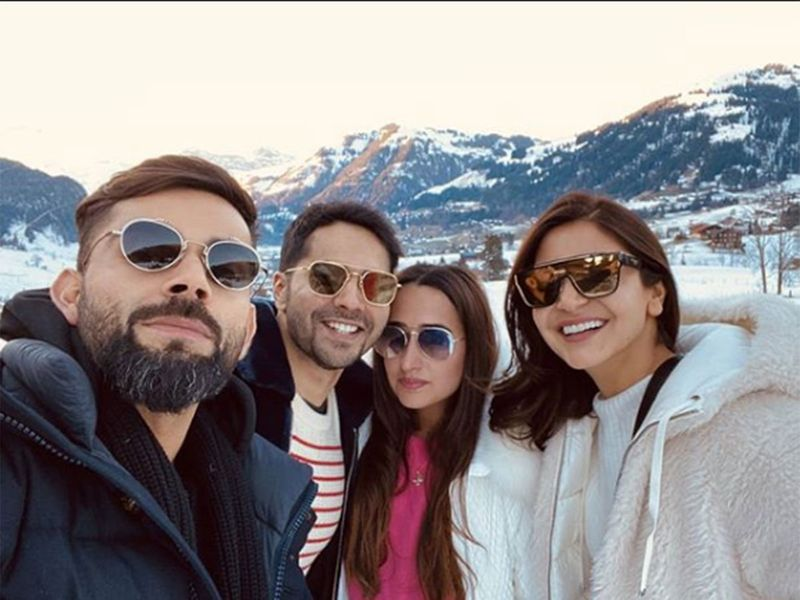 Anushka and Virat with Varun and Natasha