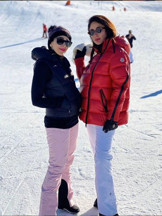 Kareena Kapoor Khan and Karishma Kapoor in Switzerland.