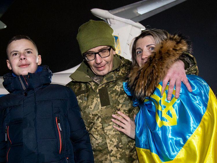 Relatives and a Ukrainian prisoner of war
