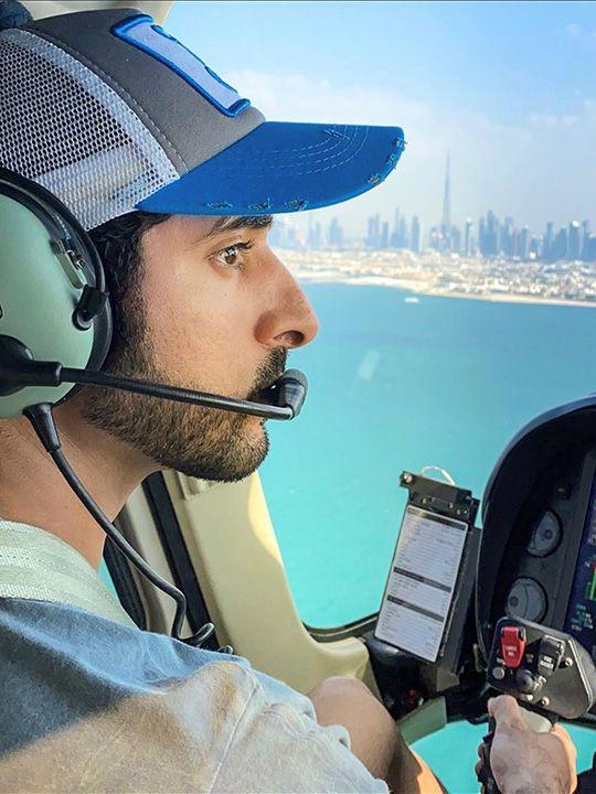 Sheikh Hamdan flying