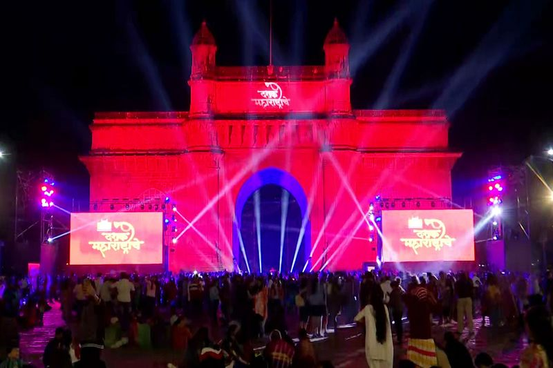 An illuminated view of the Gateway of India during the celebrations on the eve of New year in Mumbai, India.